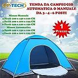 FP-TECH Tenda da Campeggio 3 4 6 POSTI Persone Canadese Automatica Igloo Gazebo Sacca (Tenda 3...
