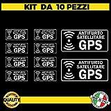 Kit da 10 (8 piccoli+2 grandi) Adesivi satellitari Trasparenti antifurto GPS per Interno Auto -...