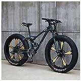 NENGGE Mountain Bike, 26 Pollici Fat Bike da Montagna, Telaio in Acciaio ad Alto Tenore di Carbonio...