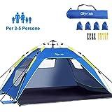 Glymnis Tenda da Spiaggia Pop-up Tenda Istantanea Portatile per 3-5 Persone, Protezione Solare UPF...