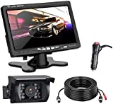 Kit Telecamera Per Retromarcia Auto con 7 Pollici Monitor LCD, 12 V-24 V Assistenza al Parcheggio,...